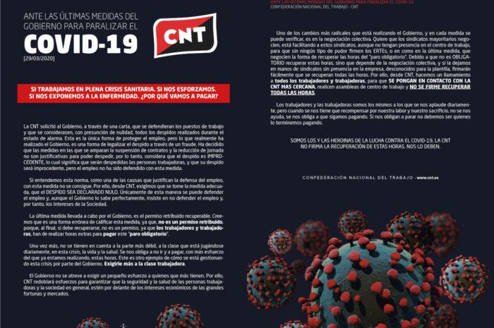 CNT ante las últimas medidas del gobierno para paralizar el COVID-19